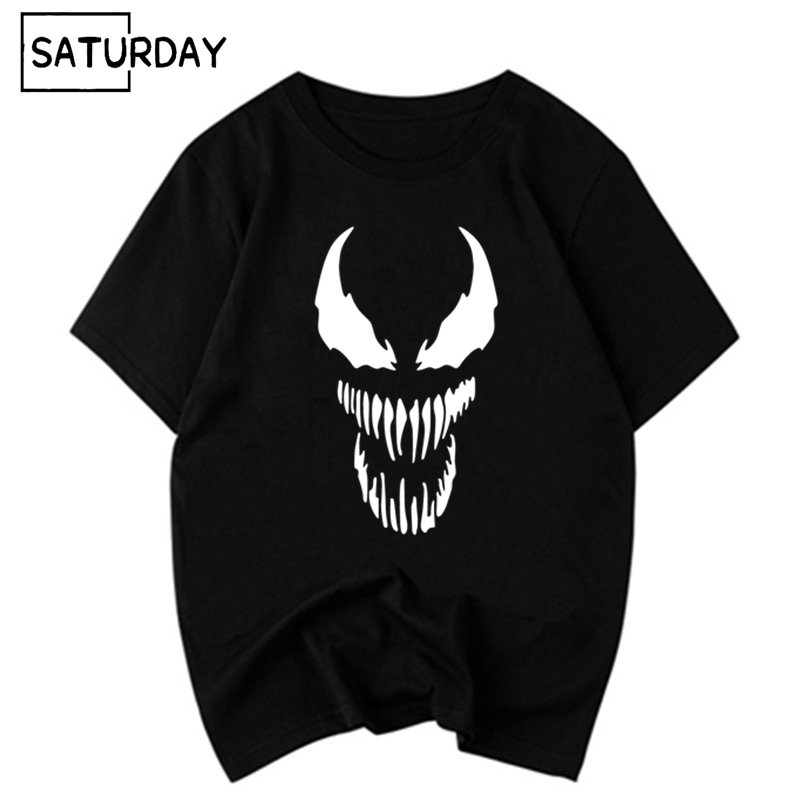 Unisex Venom Comic Originality Black Cotton Harajuku T-shirt 2019 Summer Men and Women Anime Black Cotton Movie Tops Tee Homme