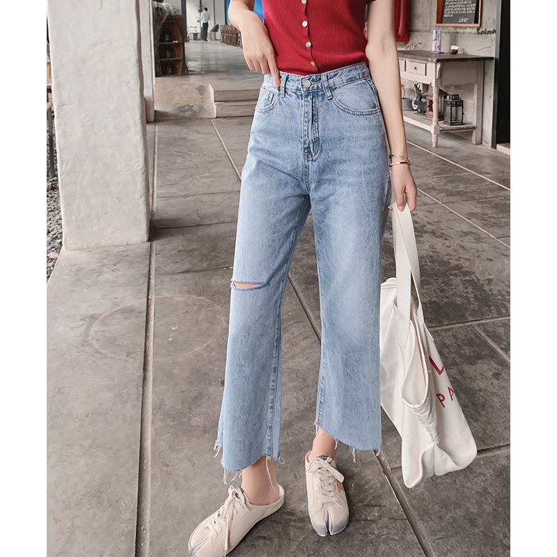 Mishow Women Wide Leg Pants 2019 Women Wash Blue Ankle-length High Waist Trousers Zipper Casual   Jeans   MX19B2363