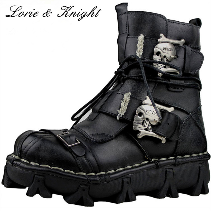 Men's Genuine Leather Skull Gothic Punk Rocker Boots Motorcycle Martin Boots (Bigger Sizes)