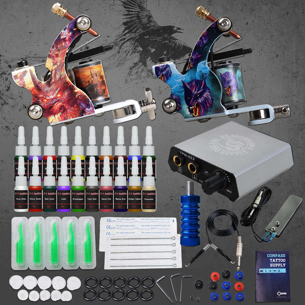 Beginner Compleet Tattoo Kit 2 Machine Guns 20 kleur Inks voeding Naalden Grip Tip Set D175GD-13