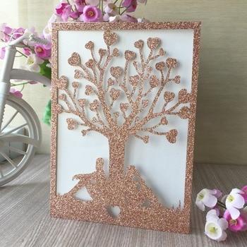 100pcs/lot Chic Pearl Paper Wedding Card Tree Pattern Romantic Wedding Invitations Card Anniversary Celebration Gift Card