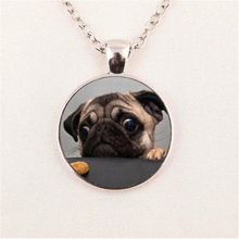 Wholesale Glass Dome Round Pendant Animals Jewelry Pug Necklaces Pendants Dog Picture Necklace The Best Gift for Dog Lovers HZ1