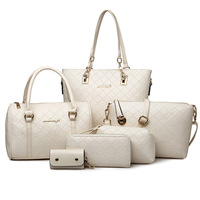 6 Set Luxury Handbags Women Bags Designer Brand Pu White Leather Briefcases Purses Handbags Female Shoulder