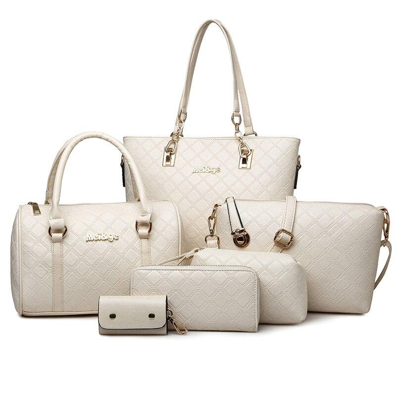 6 Set Luxury Handbags Women Bags Designer Brand Pu White Leather Briefcases Purses Handbags Female Shoulder Punk Bags Sac A Dos