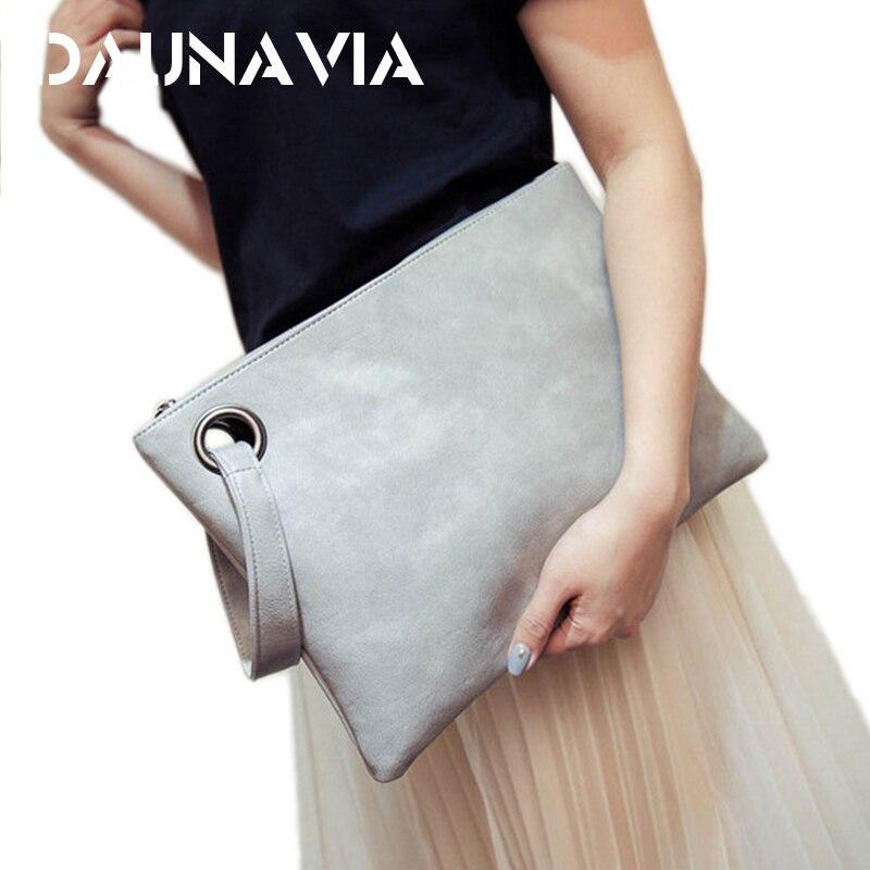 DAUNAVIA bag ladies women's clutch bag leather women envelope bag clutch evening bag female Clutches Handbag free shipping(China)