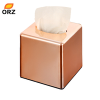 ORZ Vierkante Papierrol Box Thuiskantoor Auto Tissue Box houder Rose Gold Servet Tissue Bus Cover Kleenex Oppervlakkige Papier Case