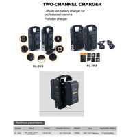 Rolux Dual channel charger for camera V Lock Batteries video camcorder dual V Mount Battery Charger (battery not included)