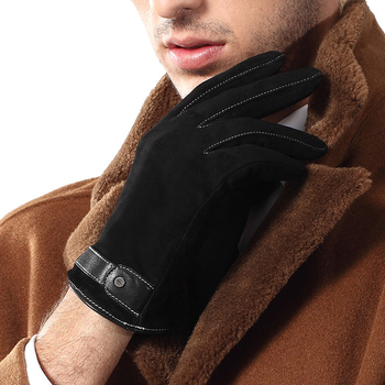 2020 NEW Genuine Leather Gloves Male Black Men Suede Sheepskin Gloves Autumn Winter Warm Wrist Buckle Driving Glove 9001 2020 new men genuine leather gloves male fashion trend autumn winter plush lined black suede sheepskin touch gloves 9006