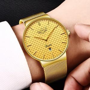 Image 3 - Ligeファッションメンズ腕時計トップブランドの高級超薄型クォーツ時計男性鋼メッシュストラップ防水金時計レロジオmasculino