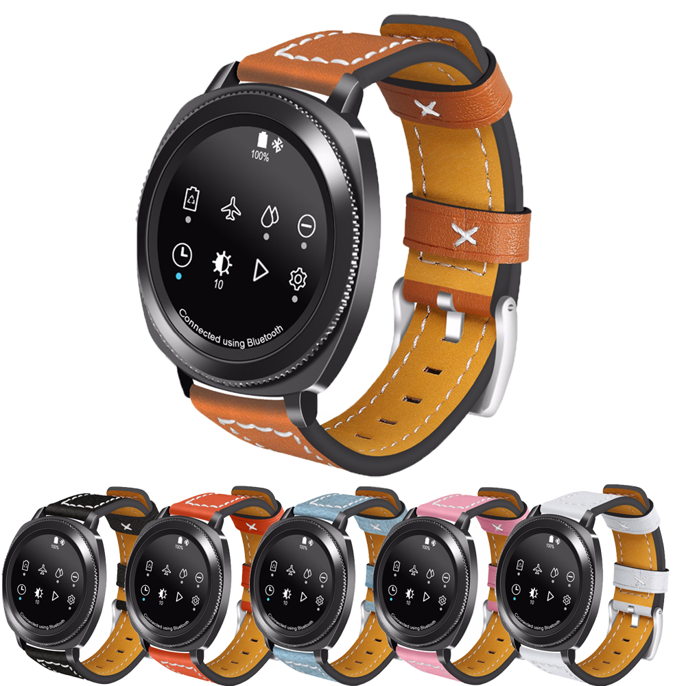 20mm Universal Genuine Leather Strap for Samsung Gear sport/s4/Samsung Gear s2 band Bracelet Wristband silicone band strap wristband for samsung gear s2