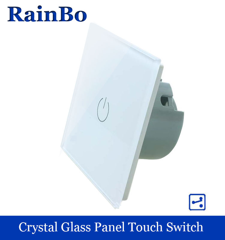 rainbo Crystal Glass Panel wall switch EU Standard 110~250V Touch Switch Screen  Light Switch 1gang2way for LED Lamp A1912W/B rainbo touch switch screen crystal glass panel wall switch eu standard 110 250v wall light switch 2gang2way led lamp a1922xw b