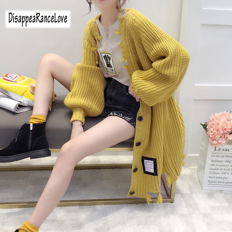 DRL Long Cardigan Female 2019 Autumn Long Sleeve Solid Hole Cardigan Women Sweater Pockets Women Knitted Jacket Tops