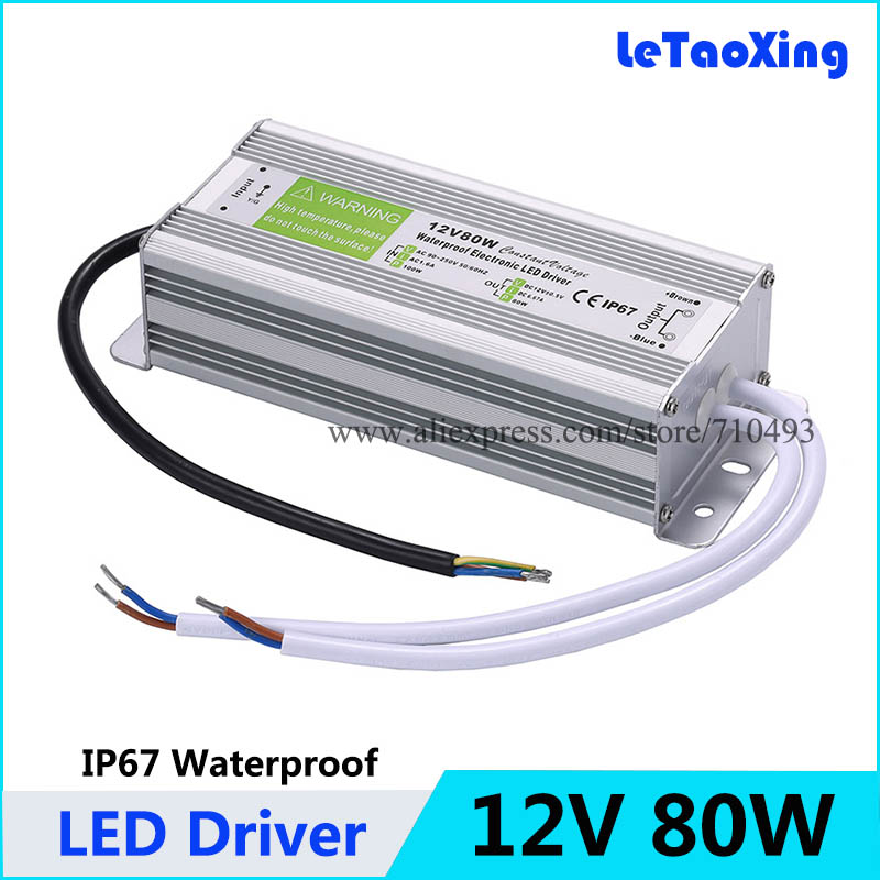 5pcs ac dc 12v 80w led driver transformers waterproof transformer5pcs ac dc 12v 80w led driver transformers waterproof transformer 12v power supply adapter ip67 led strip dhl free shipping in lighting transformers from