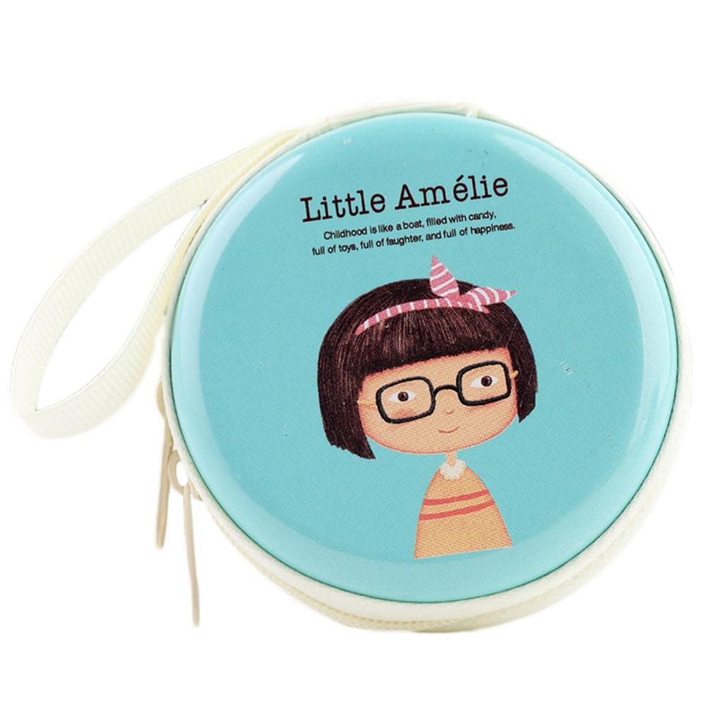 Carrying Pouch Storage Earcup Cute Little Girl Print For Lady Girl Mini Zipper Coin Purse SD Card Box Bag