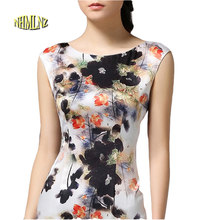 Summer Dress 2019 Natural Vintage Women Summer Printing Dress Large Size Fashion And New Dress Sexy Bodycon Dress 1ok70(China)