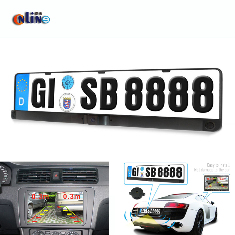 Universal License Plate Frame With Two Reversing Radar Parking sensors And PAL/NTSC Auto Camera Car Rearview Reverse Camera цена