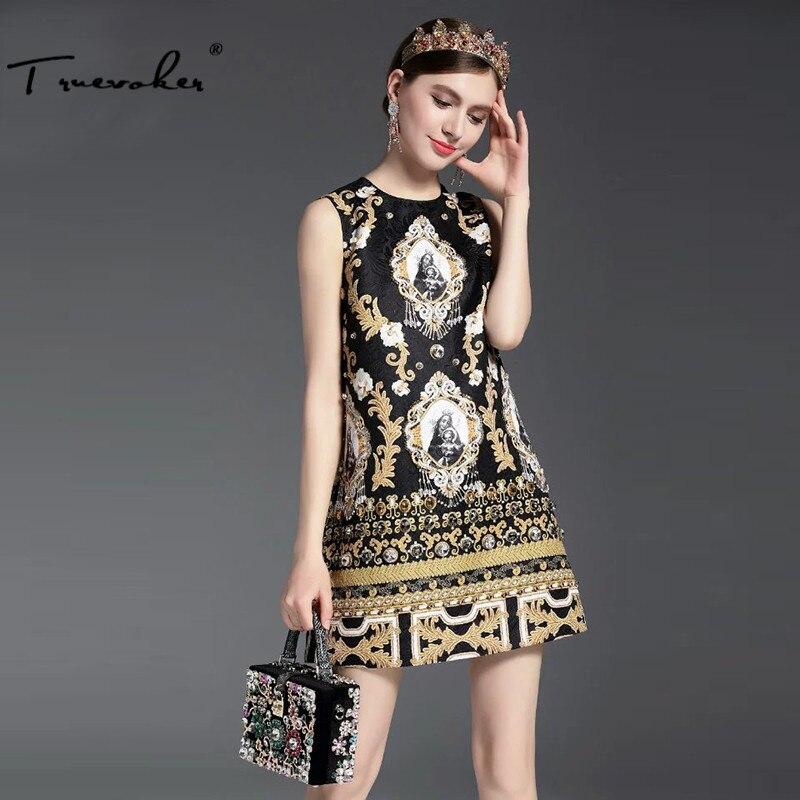 Truevoker Summer Designer Dress Women's Hight Quality Sleeveless Vintage Baroque Gold Printed Embossed Beading Diamond Dress
