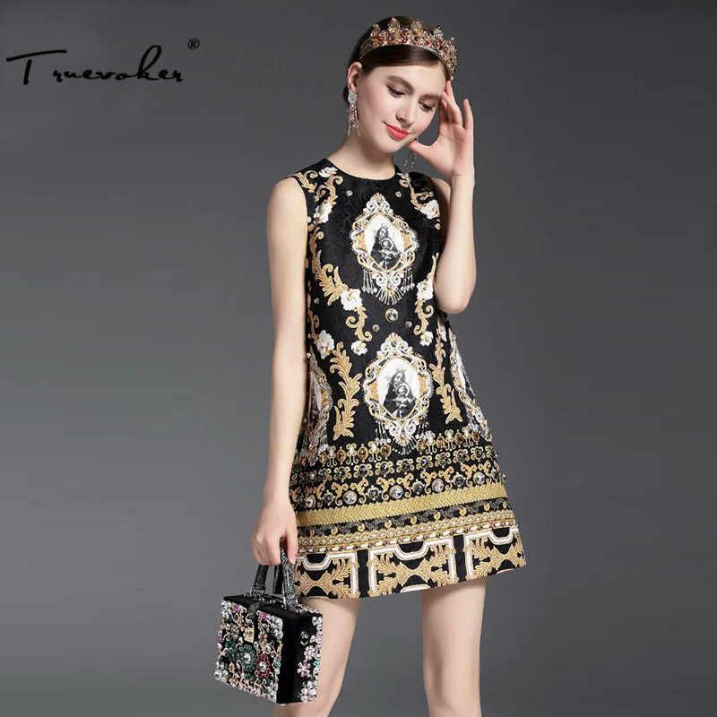 Truevoker, летнее дизайнерское платье, женское, высокое качество, без рукавов, винтажное, барокко, с золотым принтом, с тиснением, бисероплетение, Алмазное платье