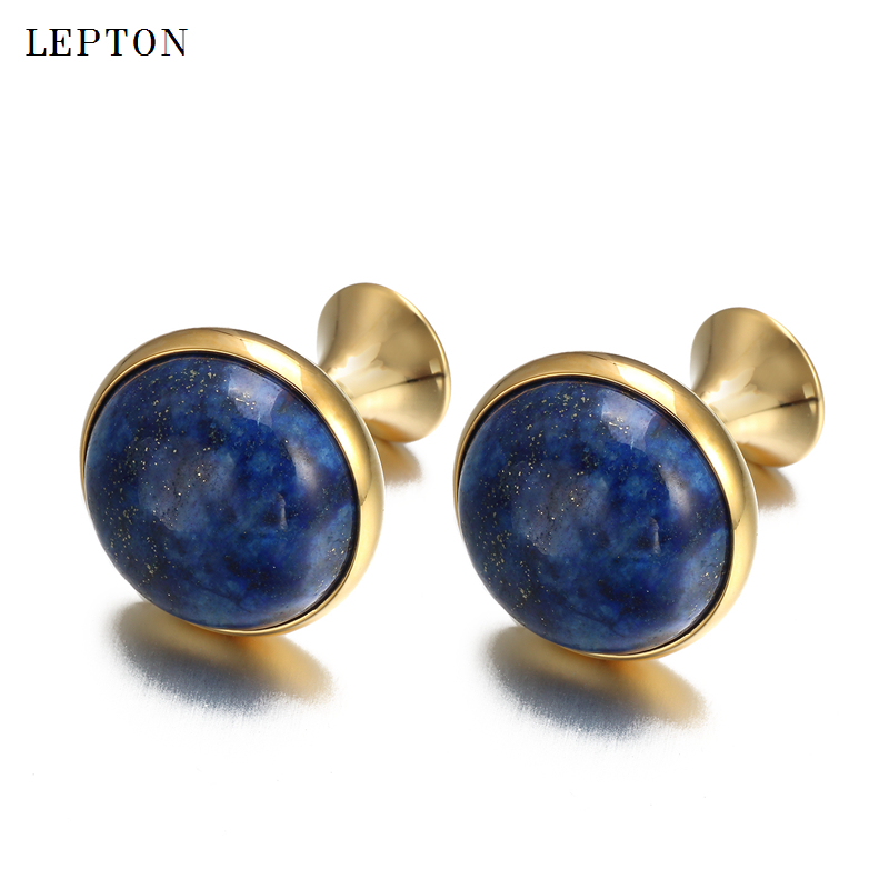 Low-key Luxury Lapis Lazuli Cufflinks for Mens Gold Color Lepton High Quality Round Lazurite Stone Cuff links Relojes gemelosLow-key Luxury Lapis Lazuli Cufflinks for Mens Gold Color Lepton High Quality Round Lazurite Stone Cuff links Relojes gemelos