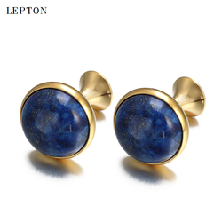 Low-key Luxury Lapis Lazuli Cufflinks for Mens Gold Color Lepton High Quality Round Lazurite Stone Cuff links Relojes gemelos