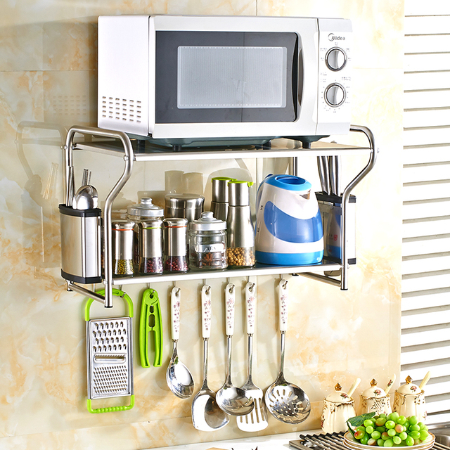 Free Shipping 304 Stainless Steel Microwave Oven Doule Shelf Kitchen Wall Mounted Pendant Storage Hook