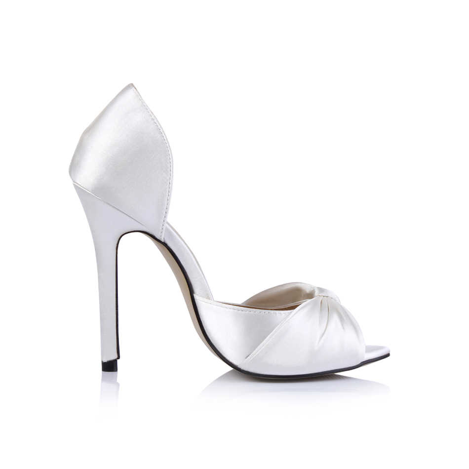 CHMILE CHAU Avorio Raso Da Sposa Sexy Del Partito Delle Donne Scarpe Peep Toe Stiletto Super High Heel Bowknot Della Signora Pompe Zapatos Mujer 0640C-l1
