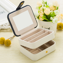 B Fashion Cosmetic Leather Jewelry Box Necklace Ring Storage Case Organizer Display for traveling Display With Mirror PU Leather недорого
