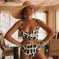 Sexy de uma peça de banho feminino maiô push up monokini leopardo bodysuit impressão maiô feminino beachwear swim wear praia