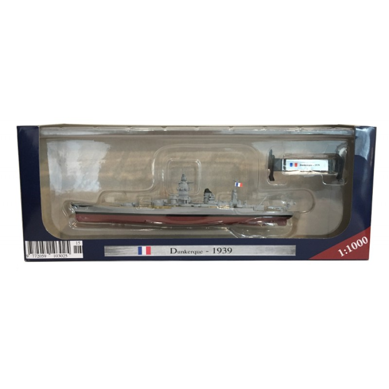 AMER 1/1000 Scale Military Model Toys Dunkerque 1939 Battleship Diecast Metal Ship Model Toy For Collection,Gift,Kids