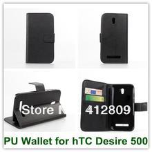 Черный Цвет Высокое Качество Бумажник PU Кредитная Карта Mulit Стенд Смарт Обложки Чехол для hTC Desire 500 Бесплатная Доставка