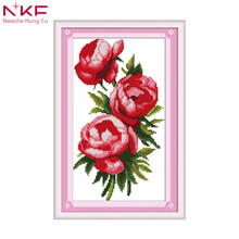 Three rose sisters flowers diy kit chinese cross stitch patterns on canvas embroidery needlework sets counting DMC14ct