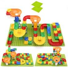 54-108Pcs Marble Race Run Maze Balls Track Building Blocks Funnel Slide Big Size Building Brick Education Compatible All цены