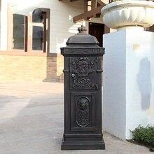 European villa letter box outdoor vertical cast aluminum anti-rust mailbox creative garden postal waterproof report