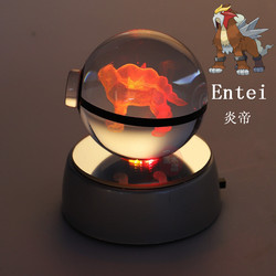 Pokemon Go Ball Engraving Entei Crystal Pokemon Poke Ball With Black Line Nice Fashion With LED Base