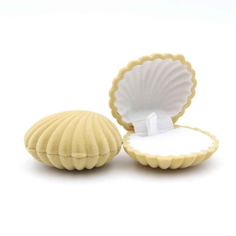 1 Buah Shell Bentuk Indah Beludru Cincin Kotak untuk Anting-Anting Kalung Gelang Perhiasan Tampilan Kotak Hadiah Pemegang