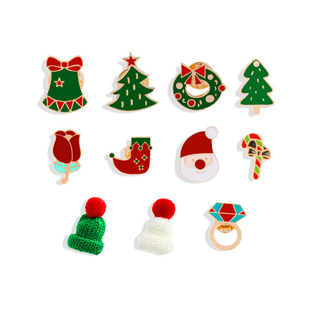 66b0bf6213bc7 US $0.38 40% OFF|11 Style Enamel Pins Christmas Hats Brooches For Children  Xmas Tree Socks Wreath Cane Santa Claus Pin Badge Accessories Jewelry-in ...