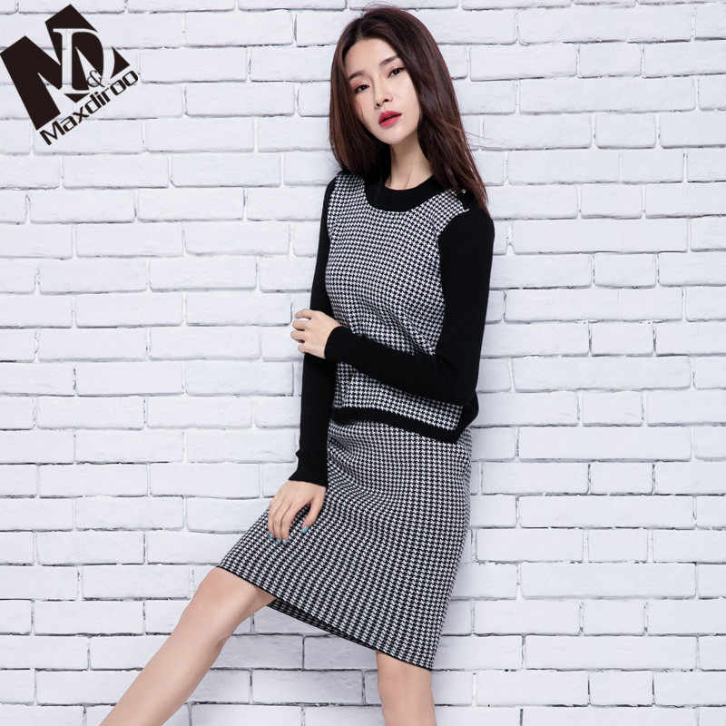Maxdiroo Two Piece Set Womens Sets Cashmere Costumes for Women Sets Clothes Top and Skirt O-neck Striped Costume Female Suit Set