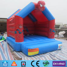Free Shipping Commercial Spiderman Cartoon Inflatable Bouncer with Raincover on Top for sale in stock