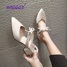 Pointed Toe Square heel High Heel Off White slippers women 2019 Summer shoes woman Fashion Riband Butterfly-knot ladies shoes недорого
