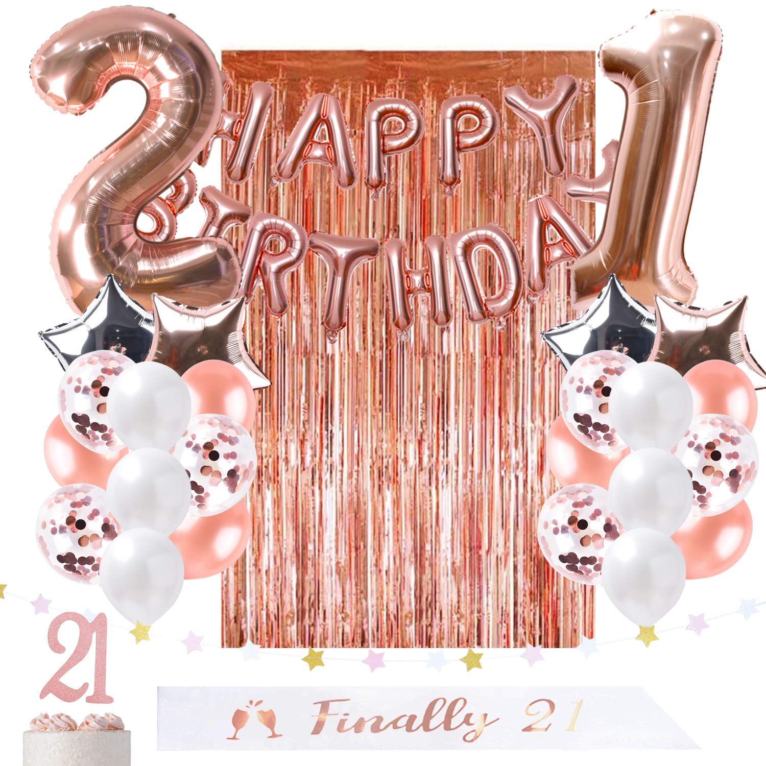 ZLJQ 21st Birthday Party Decorations Rose Gold Balloons Table Runner