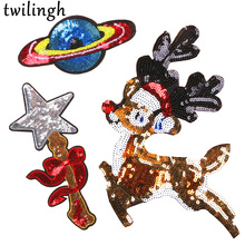twilingh Patches Sewing Iron-On Accessories Patchworks Cartoon Deer Embroidered Sequined For Clothing