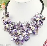 Wholesale Free P&P**Pretty Hand Weave Purple Natural MOP Shell Flower White Pearl Necklace 18