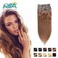 Клип В Человеческом Наращивания Волос 200 г Прямо Человеческих Волос Клип В толстые Высококачественные Натуральные Волосы Клип в Реми Цвет Волос 6 #