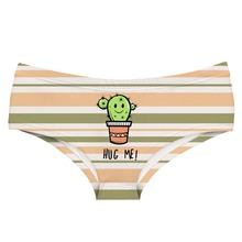 LEIMOLIS hug me cactus Striped funny print sexy hot panties female kawaii Lovely underwear push up briefs women lingerie thongs