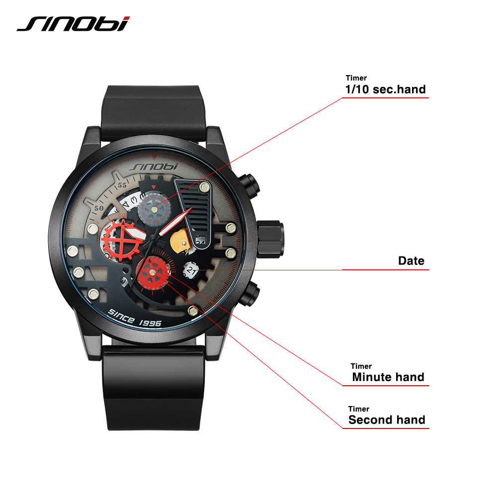 Reloj SINOBI para hombre, diseño Original, creativo, deportivo, engranaje de relojes, reloj Dial para hombre, reloj cronógrafo, reloj Masculino