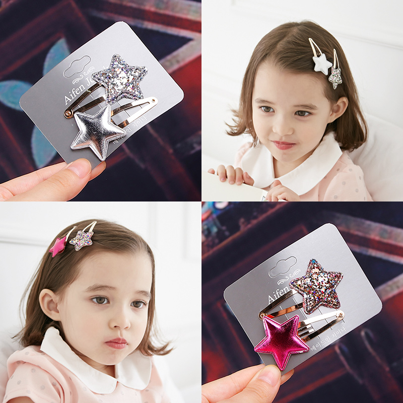 2018 New 2pcs Girls Cute Shine Heart Crown Star Hairpins BB Clips Princess   Headwear   Barrettes Hair Holder Kids Hair Accessories