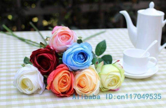1 Pcs Single Stem Fake Silk Flower Artificial Rose Home Decoration