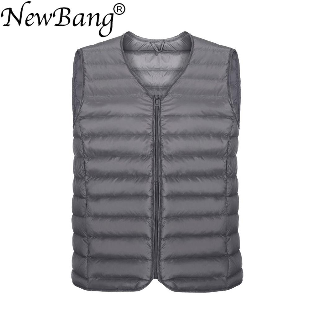 NewBang Ultra Light Down Vest Men Sleeveless Warm Vest Winter Solid Sleeveless Jacket Men's Feather Lightweight Waterproof Vests