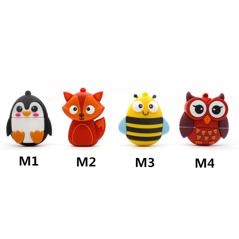 Red Owl Creative gift USB Flash Drive Fox Bee Penguin Pen Drive Cartoon 4GB 8GB 16GB 32GB Flash Memory Stick 64g u disk ...