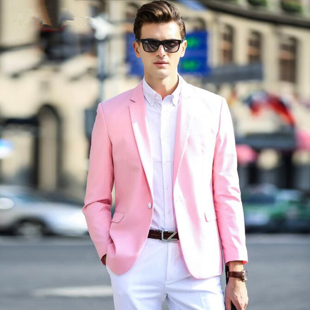 Pink men suits jacket fashion handsome bridegroom wedding ...